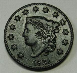 Authentic 1831 Large Letters Coronet Head Large Cent in