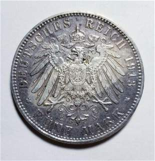 Authentic 1913 D Bavaria Silver 5 Marks Priced Right
