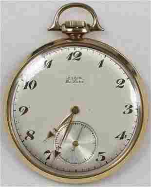 Authentic Elgin De Luxe Pocket Watch 10 Size 17 J. 14k