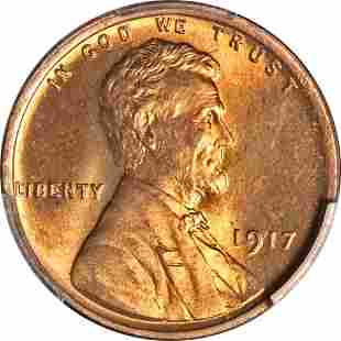 Authentic 1917-P Lincoln Cent PCGS MS66 RD Blazing Full