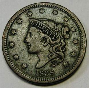 Authentic 1838 Coronet Head Large Cent in XF Lovely