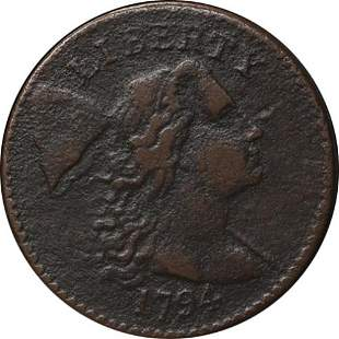 Authentic 1794 Large Cent Head of 1794 VF Details R.5-
