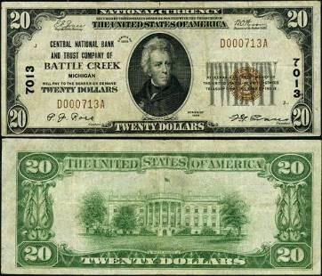 Authentic Battle Creek MI-Michigan $20 1929 T-1