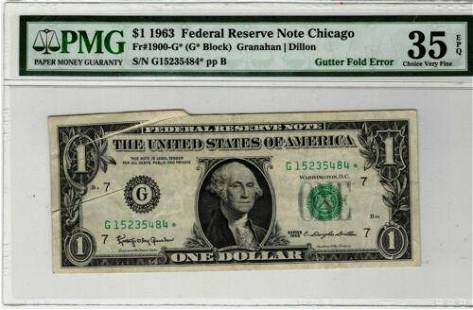 Authentic 1963 $1 Chicago Federal Reserve Note Gutter