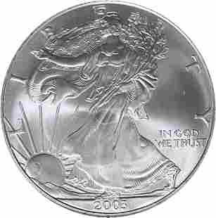 Authentic 2003 Silver American Eagle $1 NGC MS69 Brown
