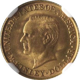 Authentic 1917 McKinley Commemorative Gold $1 NGC MS65