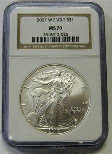 Authentic 2007-W Burnished Silver Eagle Graded NGC MS70
