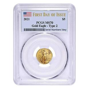 2021 1/10 oz Gold American Eagle Type 2 PCGS MS 70 FDOI