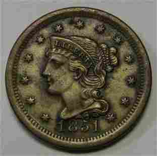 Authentic 1851 Braided Hair Large Cent Grading AU