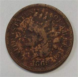 Authentic 1869 Indian Head Cent In Lower Grade Ideal
