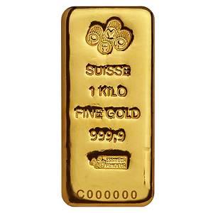 1 Kilo Gold Bar PAMP Suisse .9999 Fine (Cast  w/Assay)