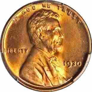 Authentic 1930-P Lincoln Cent PCGS MS66 RD Blazing Red
