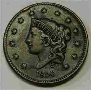 Authentic 1836 Coronet Head Large Cent in XF Nice