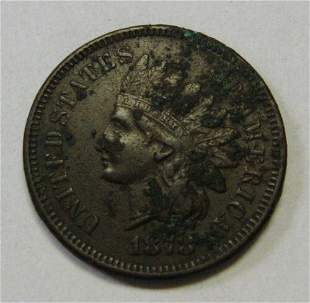 Authentic 1878 Indian Head Cent VF Details Full LIBERTY