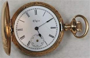 Authentic Elgin Pocket Watch 0 Size 7 J. 14k Hunting -