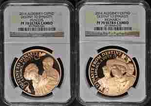 Authentic 2014 UK Royal Mint 5 Pound Proof 2 Coin Set