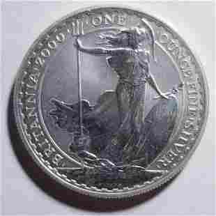 Authentic 2000 Great Britain Silver 2 Pound Reverse