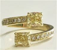 Diamond 2-stone Bypass Semi-mount In 14k Yellow Gold
