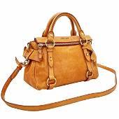 Authentic Miu 2WAY Bag Side Ribbon Handbag Leather