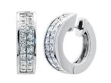 Diamond Invisible Set Huggie Earrings In 18k White Gold