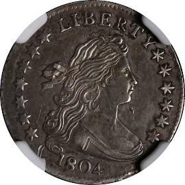 Authentic 1804 Bust Dime 13 Stars On Reverse JR-1 NGC