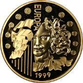 Authentic 1999 France Europa Gold Coin 1.00 oz AGW -