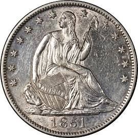 Authentic 1851-O Seated Half Dollar Choice AU/BU Great
