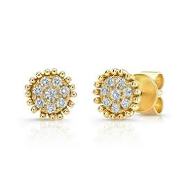 Diamond Pave Round Earrings With Beaded Border In 14k