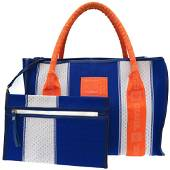 Authentic Chanel Sports Line Tote Bag with Pouch Blue