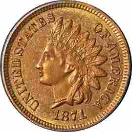 Authentic 1871 Indian Cent Choice BU++ Superb Eye