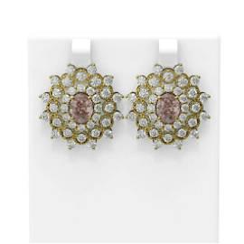 8.48 ctw Morganite & Diamond Earrings 18K Yellow Gold