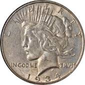 Authentic 1934-S Peace Dollar NGC AU58 Nice Eye Appeal