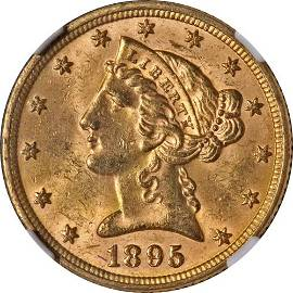 Authentic 1895-P Liberty Gold $5 NGC MS64 Great Eye