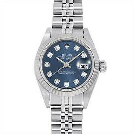 Authentic Rolex Datejust 10P Diamond 79174G Blue White