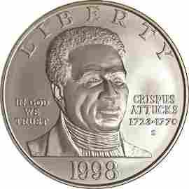 Authentic 1998-S Black Patriots Commemorative $1 NGC
