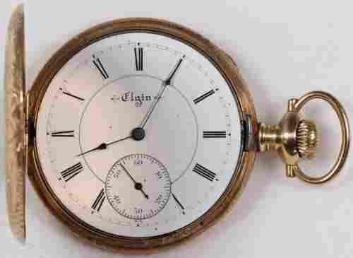 Authentic Elgin 14k H/C Pocket Watch 16 Size 17 J. 14k
