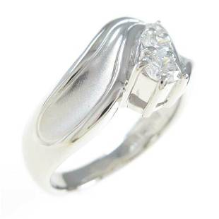 Authentic Platinum Three Stones Diamond Ring