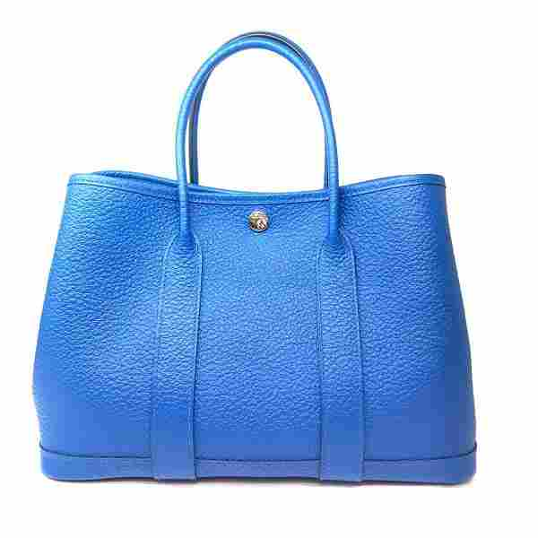 Authentic HERMES Garden TPM Tote Bag Ladies Blue Jelly