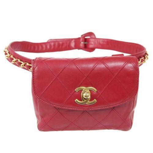 Authentic CHANEL Bicolore Line Chain Belt Bum Bag