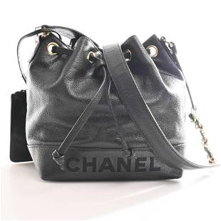 Authentic Chanel Caviar Skin Mark Drawstring Chain