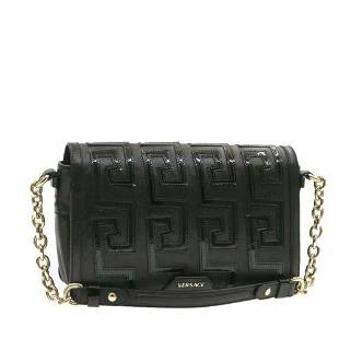 Authentic GIANNI VERSACE Leather Chain Shoulder Bag