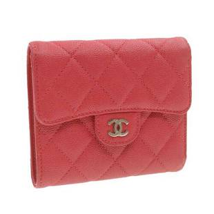 Authentic CHANEL Caviar Skin Matelasse Wallet Pink Red