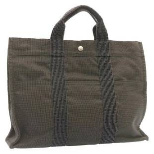 Authentic HERMES Her Line MM Hand Bag Canvas Gray