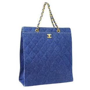Authentic CHANEL Quilted CC Logos Chain Hand Tote Bag