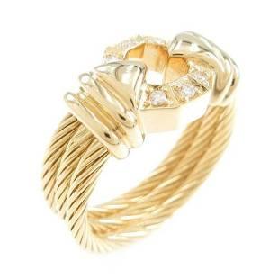 Authentic 750 Yellow Gold Diamond ring