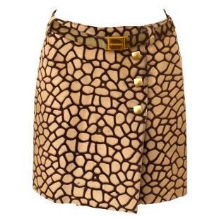 Authentic CHANEL 01C #36 CC Giraffe Pattern Mini Skirt