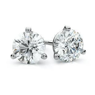 Platinum 3-prong Round Brilliant Diamond Stud Earrings