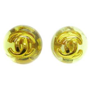 Authentic CHANEL CC Logos Button Earrings