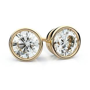 18k Yellow Gold Bezel Round Diamond Stud Earrings