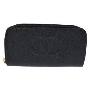 Authentic CHANEL CC Logos Long Zipper Wallet Purse